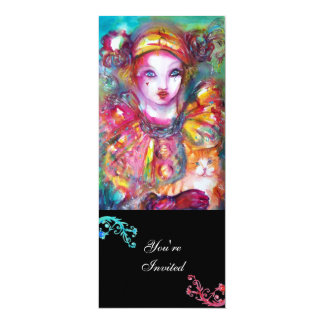 PIERROT MIT CAT/Karneval-Maskerade-Party 10,2 X 23,5 Cm Einladungskarte