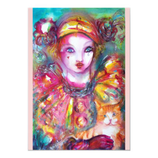 PIERROT MIT CAT/Karneval-Maskerade-Party 12,7 X 17,8 Cm Einladungskarte