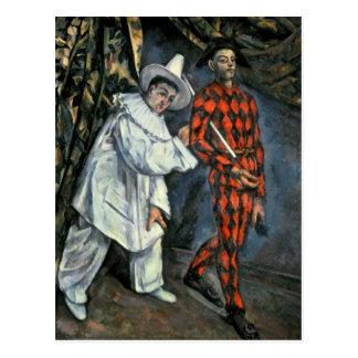 Pierrot und Harlekin, 1888 Postkarte