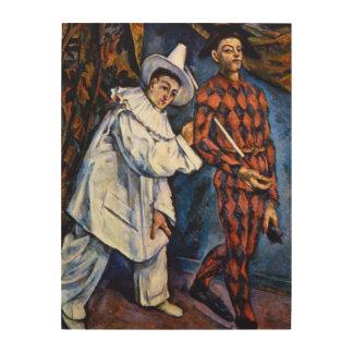 Pierrot und Harlekin, Karneval durch Paul Cezanne Holzwanddeko
