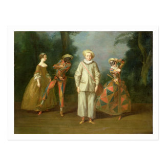 Pierrot und Harlekin Postkarte