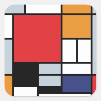 Piet Mondrian - Zusammensetzung mit großem rotem Quadratischer Aufkleber