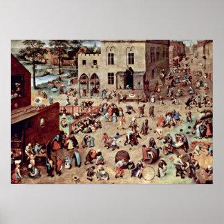 Pieter Bruegel das Älteste - die Spiele der Kinder Plakat