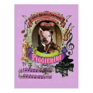Piggienini lustiges Schwein-Tierkomponist Paganini Postkarten