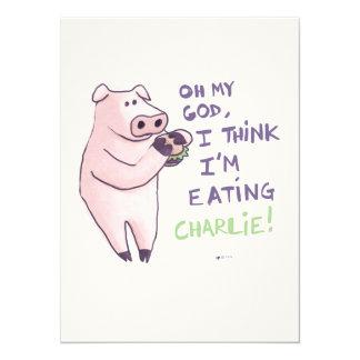 Piggy Abendesseneinladung 14 X 19,5 Cm Einladungskarte