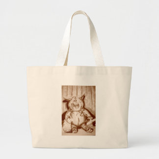 Piggy angefülltes Tier-Brown-Holzkohlen-Zeichnen Taschen