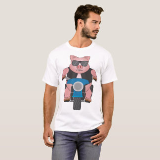 Piggy auf einem Motorrad: Front und Rückseite T-Shirt
