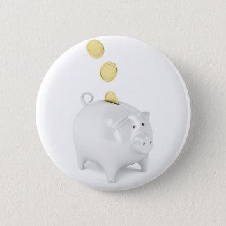 Piggy Bank mit goldenen Münzen Runder Button 5,1 Cm