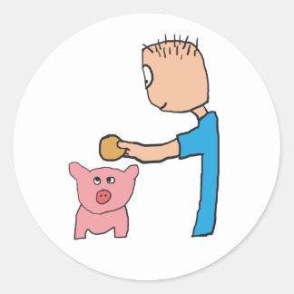 Piggy Bank Runder Aufkleber
