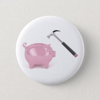 Piggy Bank und Hammer Runder Button 5,1 Cm