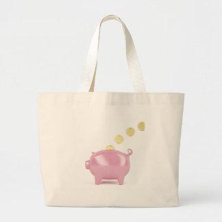 Piggy Bank und Münzen Jumbo Stoffbeutel