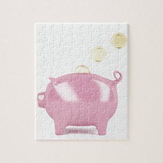 Piggy Bank und Münzen Puzzle