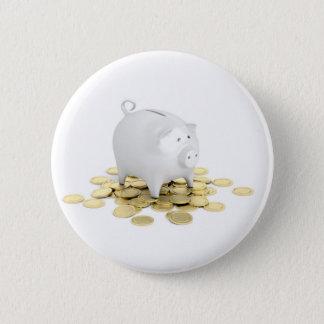 Piggy Bank und Münzen Runder Button 5,7 Cm
