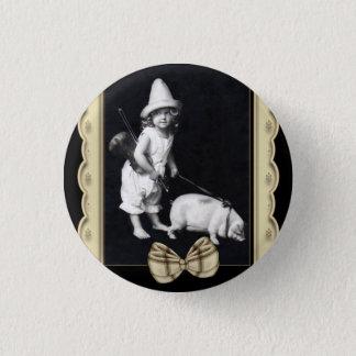 Piggy und Vintage Fotografie-runde Knöpfe I Runder Button 3,2 Cm