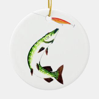 Pike-Fischen und Fliegenfischen Keramik Ornament