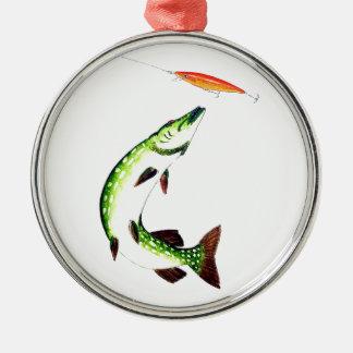 Pike-Fischen und Fliegenfischen Silbernes Ornament