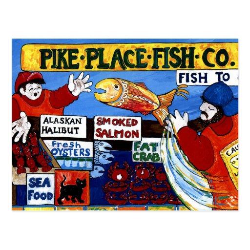 Pike-Platz-Fische Co. Postkarte