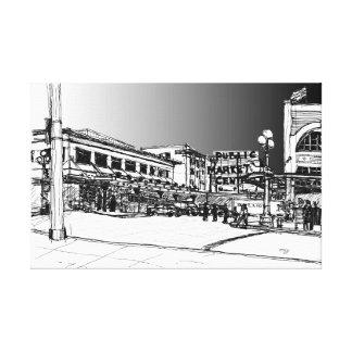 Pike-Platz-Markt, Seattle. Sturm-Himmel Leinwanddruck
