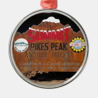 Pikes Höchstgipfel, Colorado Rundes Silberfarbenes Ornament
