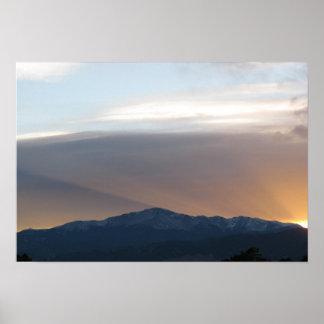 Pikes Spitze am Sonnenuntergang Plakat