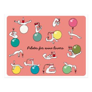 Pilates für Weinliebhaber Postkarte, Lachs Postkarte