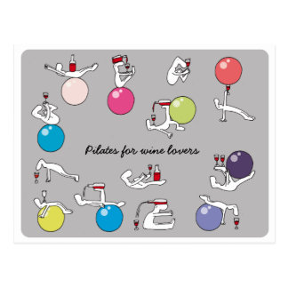 Pilates für Weinliebhaberpostkarte, grau Postkarte