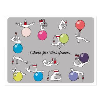 Pilates für Weinliebhaberpostkarte, grauer Postkarte