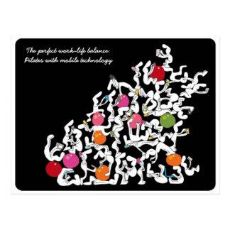 Pilates + Handtechnologiepostkarte, schwarz Postkarte