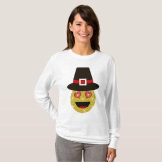 Pilger-Hut Emoji Erntedank-Shirt für Frauen T-Shirt