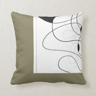 Pillow with Black & white lines drawing Kissen