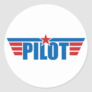 Pilot Wings Abzeichen - Luftfahrt Runder Aufkleber