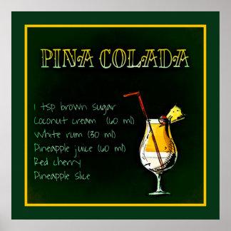 Pina Colada Cocktail-Plakat Poster