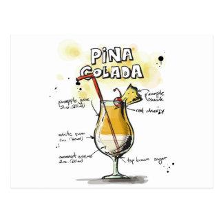 Pina Colada Getränk-Rezept-Entwurf Postkarten
