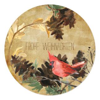 Pine Cones and Birds Textured Round Holiday Card Quadratische 13,3 Cm Einladungskarte
