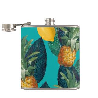 pineaple und Zitronen aquamarin Flachmann