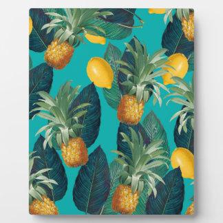 pineaple und Zitronen aquamarin Fotoplatte