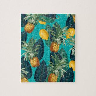 pineaple und Zitronen aquamarin Puzzle