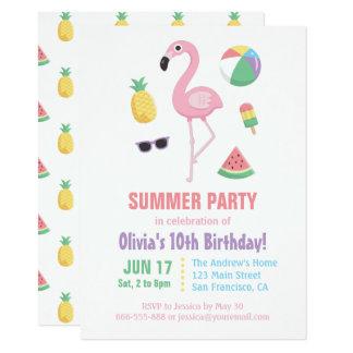 Pineapple Watermelon Flamingo Kids Birthday Party 11,4 X 15,9 Cm Einladungskarte
