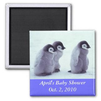 Pinguin-Babyparty Quadratischer Magnet