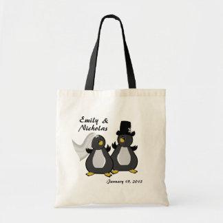 Pinguin-Braut-und Bräutigam-Hochzeit Budget Stoffbeutel