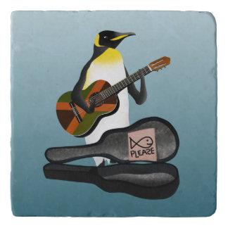 Pinguin Busking mit Jamaika-Flaggen-Gitarre Töpfeuntersetzer