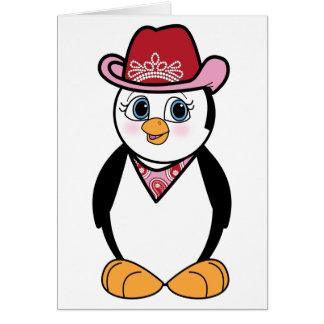 Pinguin: Cowgirl leeres Notecard Karte