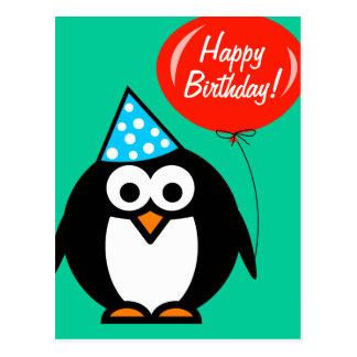 Pinguin der alles Gute zum Geburtstagpostkarte | Postkarte