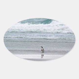 Pinguin, der vom Ozean zurückgeht Ovaler Aufkleber