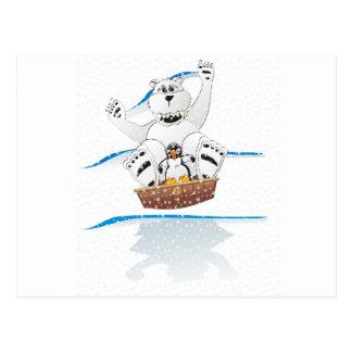 Pinguin-Eisbär-Schnee Postkarte