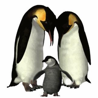 Pinguin-Familien-Verzierung mit rotem Band Fotoskulptur Ornament