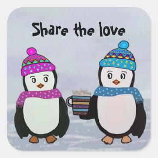 Pinguin-Freundschaft Quadratischer Aufkleber