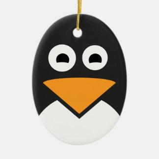 Pinguin-Gesicht Ovales Keramik Ornament