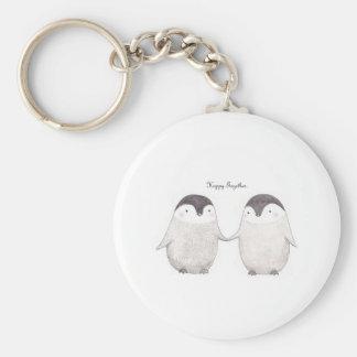 Pinguin-glückliche zusammen Schlüsselkette Standard Runder Schlüsselanhänger