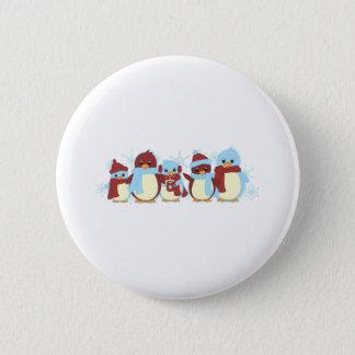 Pinguin herum runder button 5,7 cm